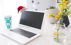 coffee desk laptop notebook